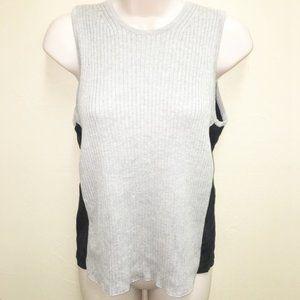 Per Se Two Tone Knit Front Silk Back Tank Top